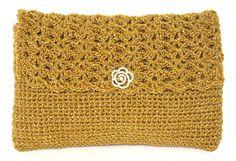 Shimmering Brass Gold Crochet Evening Clutch Shoulder Bag or