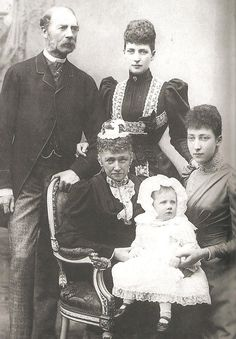 Four generations: King Christian IX and Queen Louise of Denmark Their daughter Alexandra, Princess of Wales Alexandra's daughter Princess Louise Louise's daughter Alexandra Duff Queen Victoria Family, Victoria Reign, Queen Victoria Prince Albert, Princess Louise, Princess Mary, Prince And Princess, Princess Alexandra Of Denmark, Christian Ix, Queen Margrethe Ii