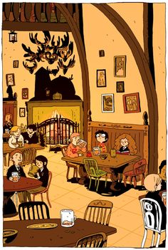 """The Three Broomsticks,"" a Harry Potter illustration by Zac Gorman. Fanart Harry Potter, Harry Potter World, Images Harry Potter, Arte Do Harry Potter, Yer A Wizard Harry, Harry Potter Love, Harry Potter Universal, Harry Potter Fandom, Hogwarts"