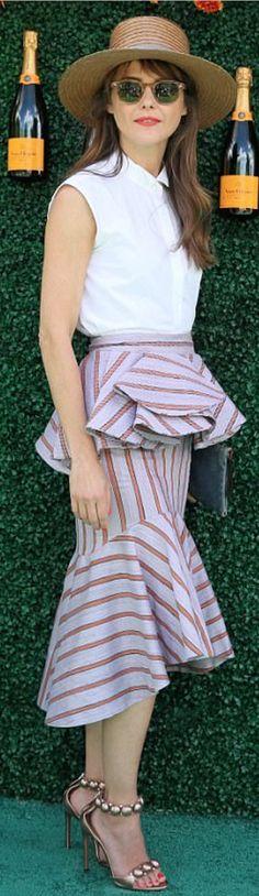 Skirt – Johanna Ortiz Shoes – Alaia similar style items by the same designer !function(doc,s,id){ var e, p, cb;getElementById(id)) { e = doc. cb = n… Keri Russell Style, Fashion Dictionary, Leopard Shoes, Alaia, Stripe Skirt, Midi Skirt, Celebrity, Actresses, Sandals