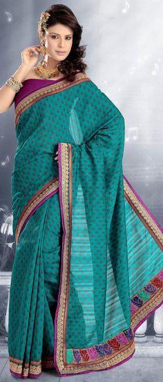 Turquoise #Blue Art #Silk #Saree with #Blouse @ $69.24 | Shop @ http://www.utsavfashion.com/store/sarees-large.aspx?icode=ssx2434