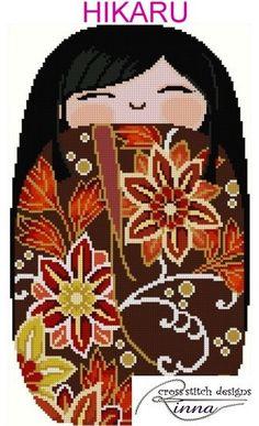 Kokeshi Chibi Doll 3 HIKARU par CrossStitchRinna sur Etsy