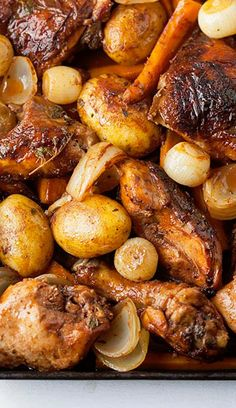 Roast Red Wine Chicken - Do the Funky Chicken Part 3 - still more creative chicken recipes Think Food, I Love Food, Good Food, Yummy Food, Tasty, Red Wine Chicken, Roast Chicken, Vinegar Chicken, Great Recipes