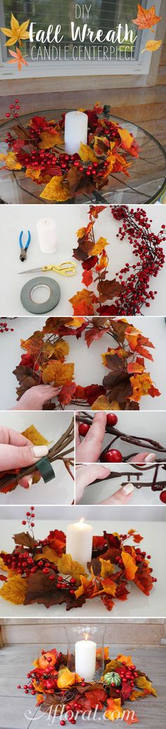 This do it yourself is a must have for Fall. Made with only two garlands, this Fall craft is perfect for your Thanksgiving table or to hang on your front door. Use as a candle ring around a hurricane vase or to decorate your pumpkin. Find everything you need to make your Fall DIY projects at Afloral.com.