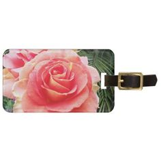 Soft bright pink rose close-up photo luggage tag - flower gifts floral flowers diy