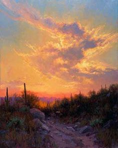 """""""Sonoran Glow"""" an amazing Arizona landscape by featured artist Becky Joy. Abstract Landscape, Landscape Paintings, Landscape Design, Abstract Oil, Sunset Paintings, Landscape Materials, Indian Paintings, Contemporary Landscape, Watercolor Landscape"""