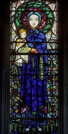 Our Lady and the Christ child by Harry Clarke+ Stained Glass Church, Stained Glass Art, Stained Glass Windows, Harry Clarke, Church Windows, Santa Lucia, Christian Art, Glass Collection, Color Theory