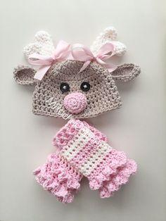 Crochet reindeer hat baby reindeer hat newborn by MRocheCrochet