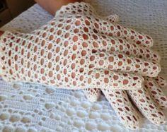 Guantes de encaje de ganchillo estilo vintage boda - crema