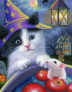 Diamond Painting Halloween Cat and Mouse Paint with Diamonds Art Crystal Craft Decor Halloween Artwork, Halloween Clipart, Cute Halloween Costumes, Halloween Pictures, Halloween Apples, Scary Halloween, Halloween Night, Image Foto, Halloween Party Supplies