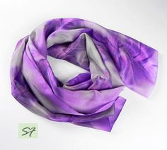 Hand dyed silk scarf, 100% silk foulard, Purple Scarf, Gray, Shibori, Gift for women, Birthday Gift, Wearable Art, large, long by SilkFantazi on Etsy