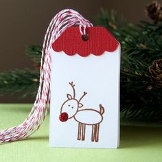 Sparkly Red Nose Reindeer Christmas Tags or Package by scrapbits, $4.00