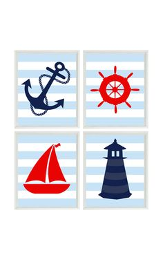 Nautical Nursery Art Print Set Navy Blue Red by RizzleandRugee, $50.00