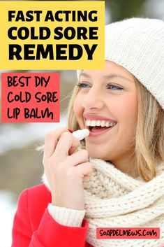 Best cold sore treatment to get rid of herpes virus cold sores fast! Best Cold Sore Lip Balm Recipe! It really works! Get rid of cold sores fast with this natural homemade cold sore therapy lip balm recipe. Made with naturally anti-viral neem oil and tea tree oil this lip balm helps to prevent cold sores if applied at the first sign of a tingle or zaps them practically overnight when applied to affected area several times a day. #coldsores #naturalremedy #beautytips