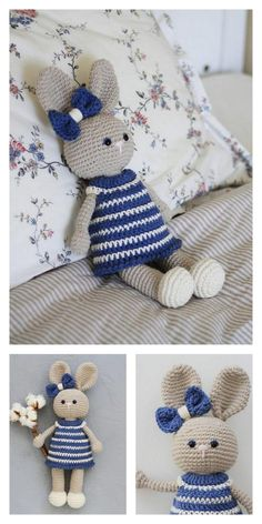 Amigurumi Bunny With Blue Flowers Free Pattern – Amigurumi Free Patterns And T. : Amigurumi Bunny With Blue Flowers Free Pattern – Amigurumi Free Patterns And Tutorials Easter Crochet Patterns, Crochet Bunny Pattern, Crochet Rabbit, Cute Crochet, Crochet Dolls, Amigurumi Free, Amigurumi Patterns, Blue Bunny, Stuffed Animal Patterns
