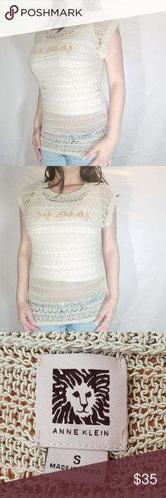 Anne Klein] Cow Shade Knitted Pullover 🌷Size Smal Pre-owned Excellenct Condition Anne Klein🌷 Cow Shade Knitted Pullover Blouse🌷Size Small🌷 meant to be worn with Camisole or a Long sleeve top.🌷 Measurement  🌷26 inches from Top to Bottom🌷 🌷15 inches from pit to pit🌷 Material  🌷73% Acrylic 🌷 🌷27% Nylon 🌷 Anne Klein Tops Blouses