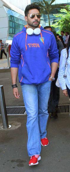 Abhishek Bachchan at Mumbai airport. #Bollywood #Fashion #Style #Handsome