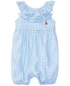 So cute, I love the ruffles. I love rompers for Easy outfit ideas.  Ralph Lauren Baby Girls Ruffled Gingham Shortall (12 Months, Blue/White)