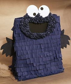 freckled laundry: Cookie Monster Paper Bag Piñata