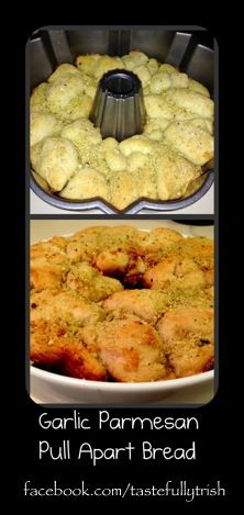 1 Grands biscuits. 1/2 stick of butter. 1T of Tastefully Simple Garlic Garlic. 1/2C grated Parmesan cheese. 1t TS Italian Garlic Bread Seasoning. Preheat the oven to 350 degrees. Throw the cold 1/2 stick of butter in a bundt pan and let it melt in the preheating oven. While the butter melts, cut the Grands biscuits into quarters. In a bowl, toss the biscuit pieces and spices/cheese. Add the biscuit mixture to bunt pan, sprinkling with remaining spices. Bake for 20- 22 minutes until golden.