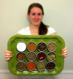 Magnetic Spice Rack - Large Custom Wall Mount Leaf Green Kitchen Decor by saltcityspice
