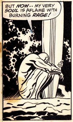 """nebulaeunfolding: """"thecomicsvault: """"Original art from SILVER SURFER (Sept. Art by Jack Kirby & Herb Trimpe Words by Stan Lee """" """"… my very soul is aflame with burning rage. Stan Lee, Comic Book Artists, Comic Artist, Comic Books Art, Surfer D'argent, Marvel Universe, Hulk, Silver Surfer Comic, Jack Kirby Art"""