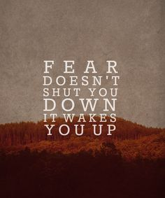 """""""Fear doesn't shut you down, it wakes you up."""""""