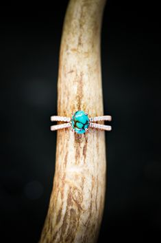 5a8f33bf2809 OVAL TURQUOISE SET ON 14K GOLD DIAMOND BAND (available in 14K rose