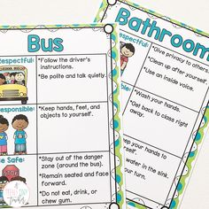 "I use these Behavior Posters every day in my classroom. I have them displayed on a bulletin board near our door so that we can have a ""quick check"" moment before we head to other areas of our school. I have also printed these posters, laminated them, and bound them into a book to use for daily/weekly lessons. Our school focuses on one area a week and then we repeat them throughout the year."