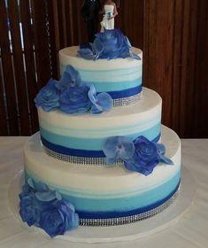 Calumet Bakery Brushed Blue Ombre Wedding Cake