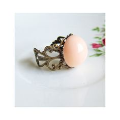 Filigree Ring Apricot Peach Pink Dome Ring by Jewelsalem, $7.89