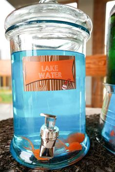 Lake water at a fishing birthday party! See more party planning ideas at CatchMyParty.com!