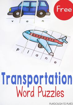Free transportation word puzzles. Such a fun way to work on letter names and beginning reading. These would be perfect for a transportation unit too!