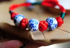 Chinese Button Knot Blue and White Porcelain Beads Red String Bracelet