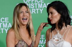 Jennifer Aniston and Olivia Munn, who star in the holiday comedy Office Christmas Party, shared some laughs on the red carpet… – @UPI Photos