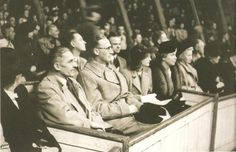 Reinhard Heydrich wearing glasses in company of Karl Hermann Frank and Karola Frank in circus Krone, Prague. 8.10.1941.
