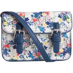 PIECES Flower Cross Over Bag ($22) found on Polyvore featuring bags, handbags, shoulder bags, purses, accessories, bolsas, сумки, snow white, flower print handbags and blue shoulder bag