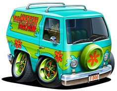 "12"" Scooby-Doo The Mystery Machine Van cartoon car Wall Sticker Graphic Decal Art Mural for Kids game room, Man Cave Garage, Den Home NEW"