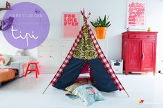 DIY Make your own Tipi   Zilverblauw