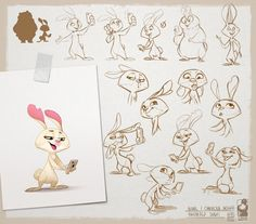 "289 curtidas, 7 comentários - Biboun (@biboun_fossard_christophe) no Instagram: ""-Addicted Rabbit- . Rabbit's design for a little animated serie by ""la grange aux monstres"". . .…"""