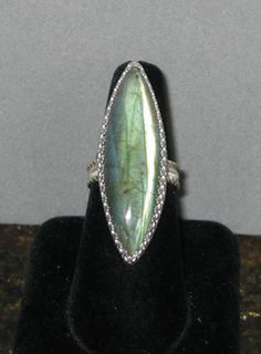 Big Bold Labradorite Ring Sterling Silver Size 8 by jewelrybysala, $95.00