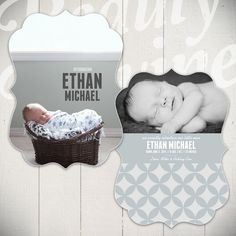 Birth Announcement Card Template: Little Charmer Card A - 5x7 Ornate Luxe Card Template for Baby
