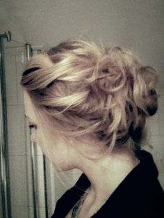 messy updo. My hair? Love the twists and texture in the front.... Clean up the bun in the back.