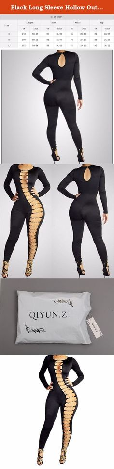 02f152f910 Black Long Sleeve Hollow Out Sexy Clubwear Women Bodycon Long Jumpsuit  Rompers. 1.You