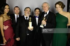 Actress Zoe Saldana, actor Sam Worthington, producer Jon Landau , composer James Horner and director James Cameron and actressSigourney Weaver pose for a portrait backstage during the 67th Annual Golden Globe Awards at The Beverly Hilton Hotel on January 17, 2010 in Beverly Hills, California.
