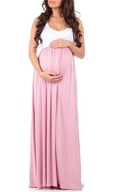 585ab06556c1 Women Maternity Clothes - Baonmy Womens Maternity Long Maxi Sleeveless  Dress Pink M   Click the