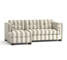 Stewart Upholstered Right Arm Sofa with Chaise Sectional, Polyester Wrapped Cushions, Premium Performance Awning Stripe Oatmeal/Ivory