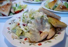 Egyszerű csirkesaláta joghurtos öntettel Fresh Rolls, Potato Salad, Salad Recipes, Cabbage, Salads, Tacos, Potatoes, Mexican, Chicken