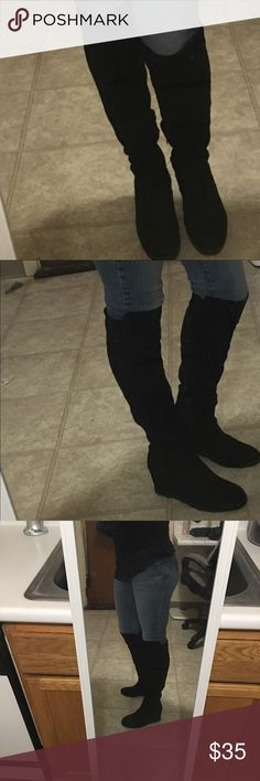 """Knee high black suede boots Knee high black suede boots. Look sexy and are super comfortable. Sole is great for winter, worn while working in Boston during the worse winter, will not slip in these babies Boots have a 3"""" wedge and come just over the knee or mid knee depending on your height. Nordstrom  Shoes Over the Knee Boots"""