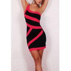 Sexy Color Block Bodycon One-Shoulder Dress For WomenClub Dresses | RoseGal.com